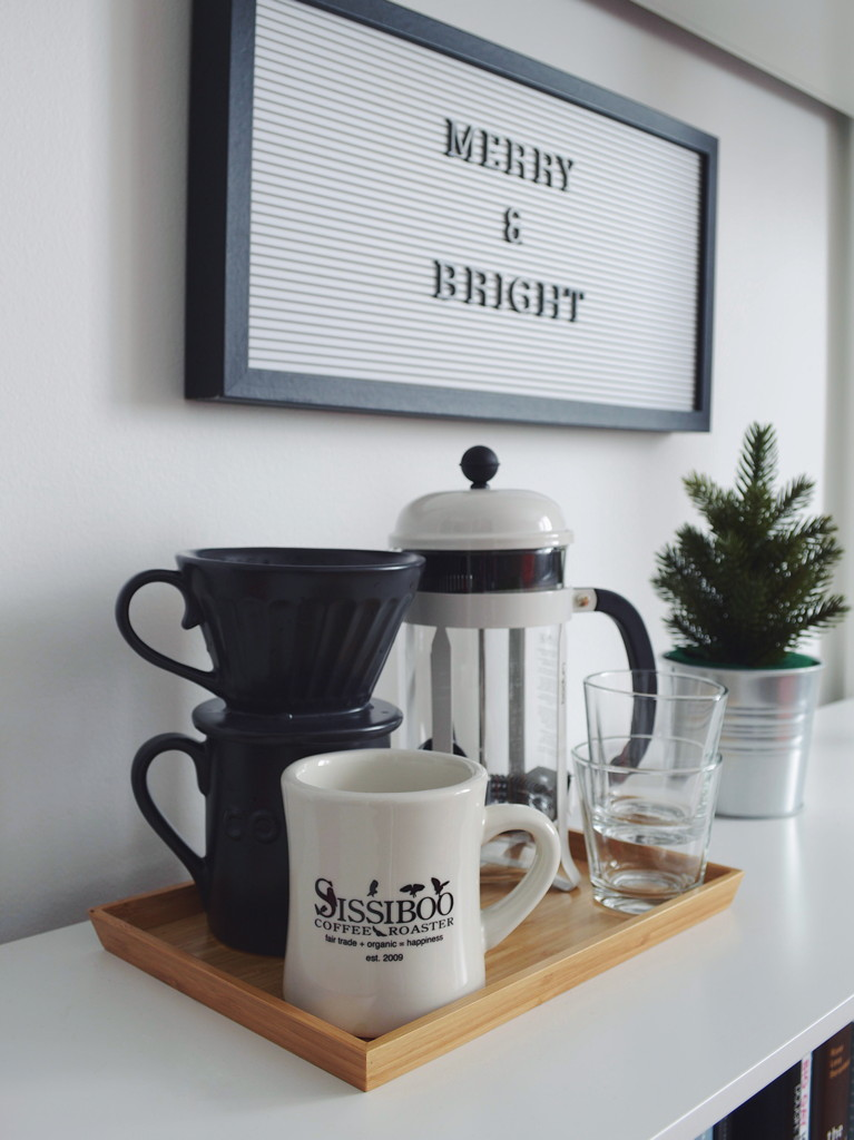 Office coffee station with pour over and French press, with minimal Christmas decorations by Reghan Skerry