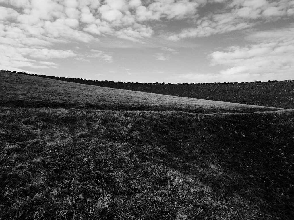 Black and white photo of a barren landscape by Reghan Skerry