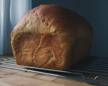 Loaf of home-made bread, photographed by Reghan Skerry.
