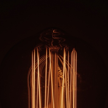 Close up of a lit Edison bulb against a dark background. Photo by Reghan Skerry.