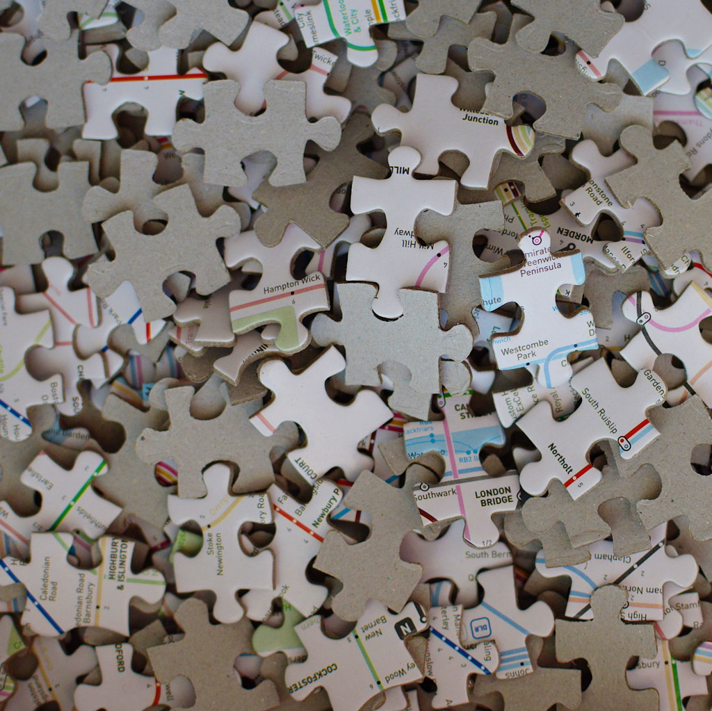 Jigsaw puzzle pieces, by Reghan Skerry.