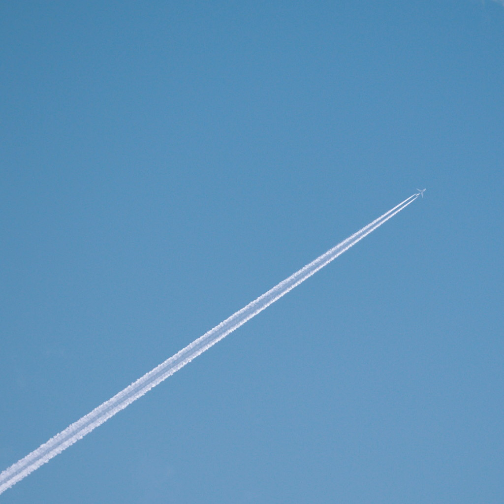 Contrail against a blue sky. Photo by Reghan Skerry.