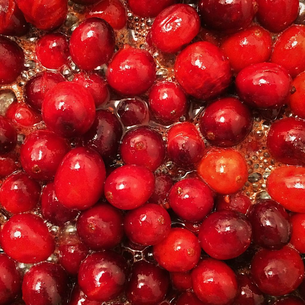 Cranberries being cooked down into cranberry sauce. Photo by Reghan Skerry.