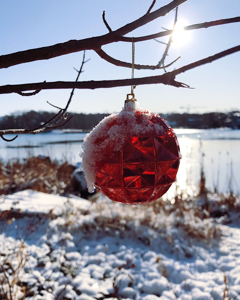 Red Christmas ornament with snow. Photo by Reghan Skerry.
