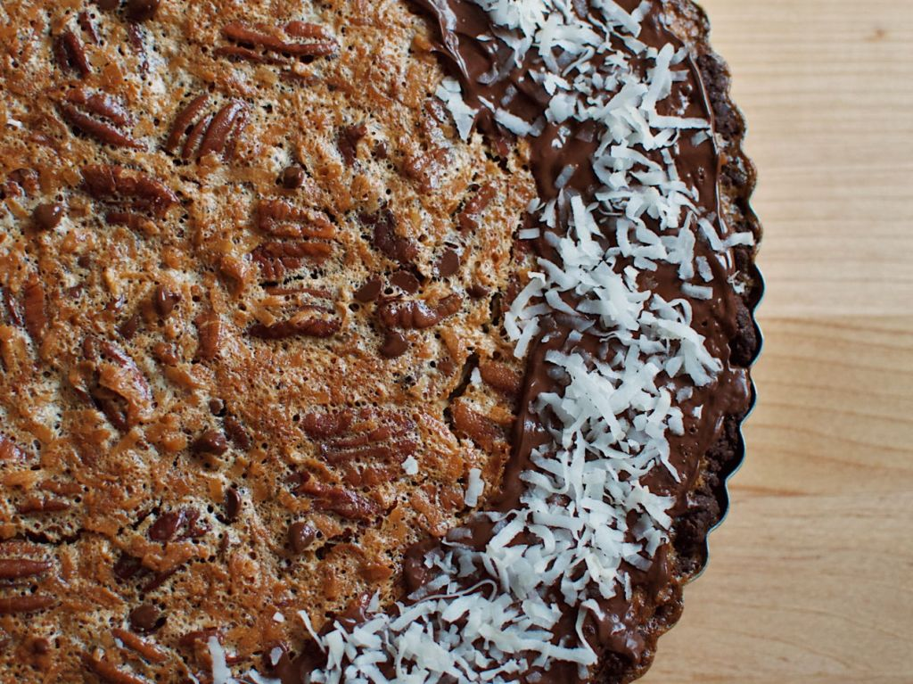 Pecan tart with chocolate and coconut. Photo by Reghan Skerry.