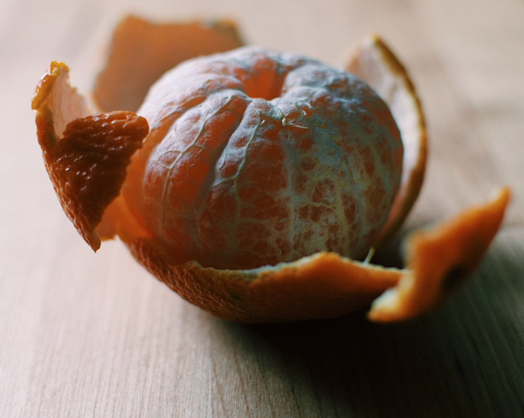 Partially peeled clementine orange. Photo by Reghan Skerry.